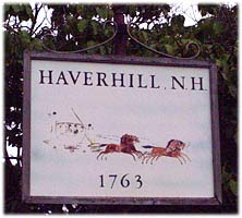 Town sign Haverhill New Hampshire White Mountains region