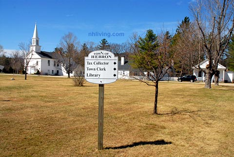 town sign Hebron New Hampshire Lakes region