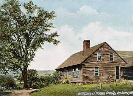 Horace Greeley birthplace, Amherst New Hampshire Merrimack Valley region