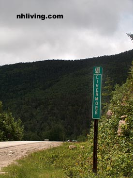 Livermore sign marker, New Hampshire White Mountains region