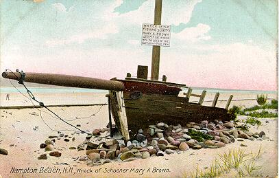 Mary A Brown Shipwreck Hampton Beach, Hampton New Hampshire Seacoast region