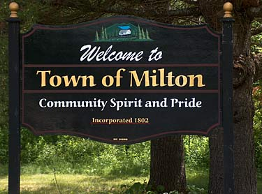 town sign, Milton New Hampshire Lakes region