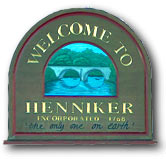 town sign Henniker New Hampshire Merrimack Valley region