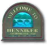 town sign Henniker New Hampshire Merrimack Valley region