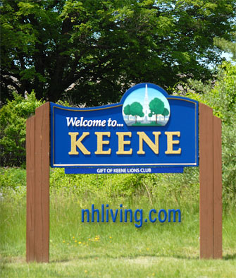 Town sign, Keene New Hampshire Monadnock region