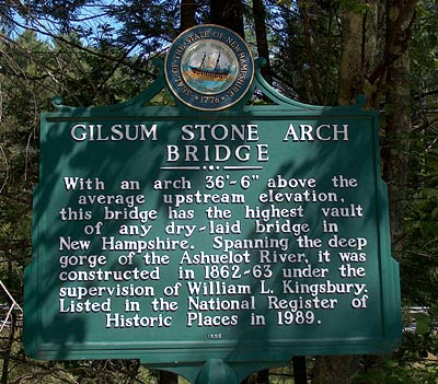Stone Arch Bridge Sign, Gilsum New Hampshire Monadnock region