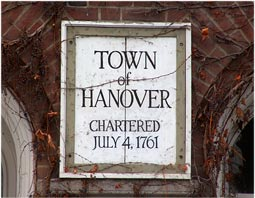 Town sign Hanover New Hampshire Dartmouth Lake Sunapee region