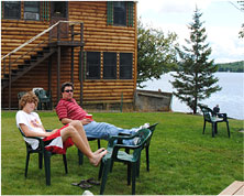 relaxing at Powderhorn lodge cabins Pittsburg NH - click to enlarge view