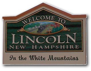 Town sign, Lincoln New Hampshire White Mountain region