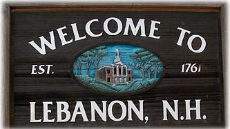 Town Sign, Lebanon New Hampshire Dartmouth Lake Sunapee region